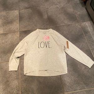Rae dunn light grey love sweatshirt